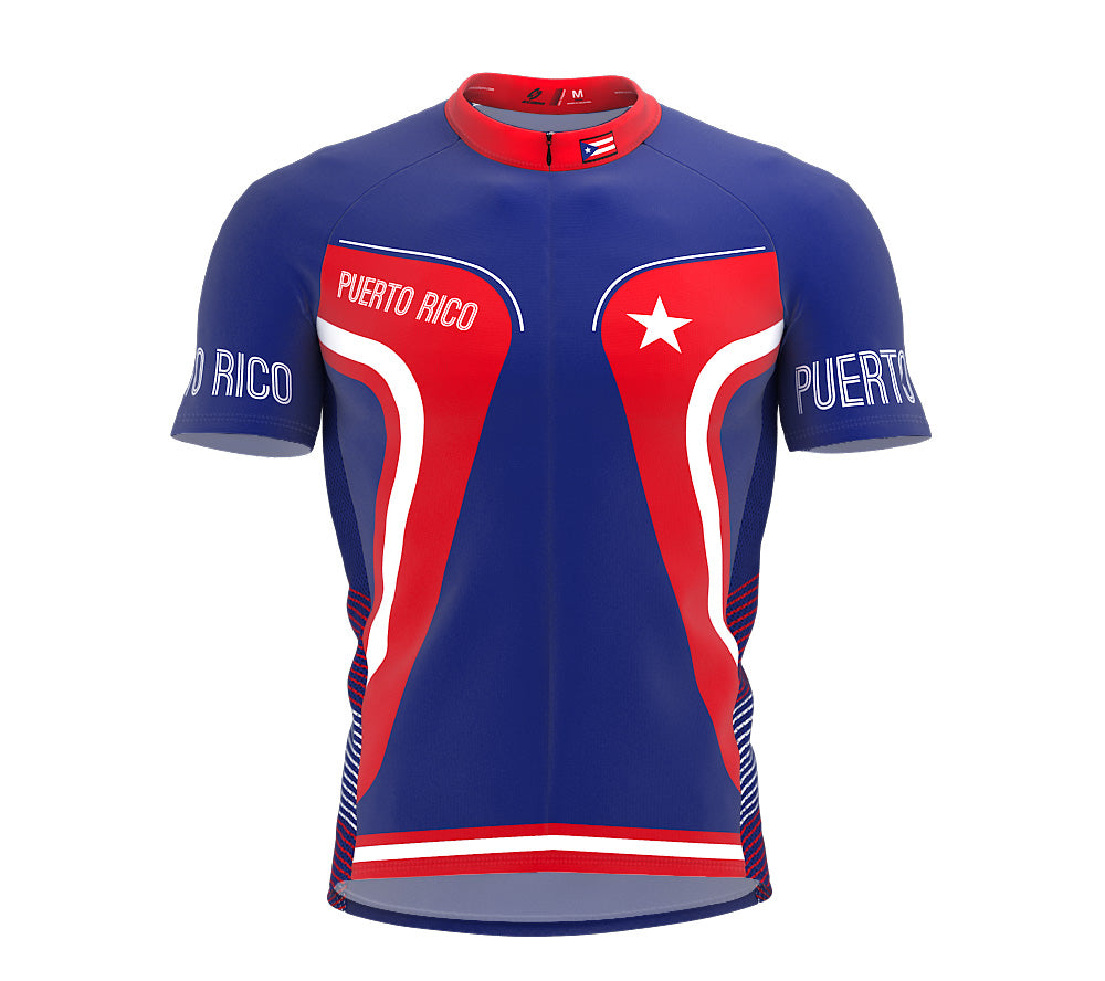 Puerto Rico  Full Zipper Bike Short Sleeve Cycling Jersey