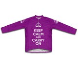 Keep Calm and Carry On Purple Cycling Jersey Long Sleeve