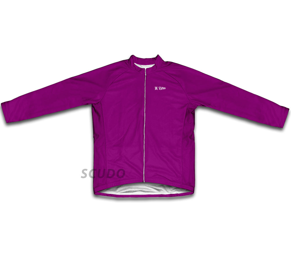 Keep Calm and Ride a Bike Purple Winter Thermal Cycling Jersey