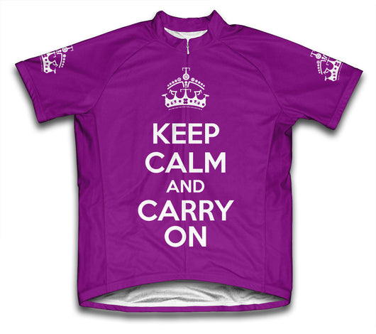 Keep Calm and Carry On Purple Cycling Jersey