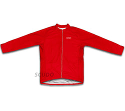 Keep Calm and Bike On Red Winter Thermal Cycling Jersey