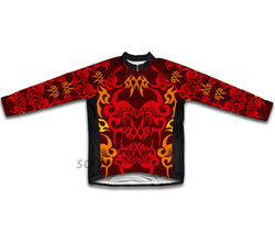 Red Black Tattoo Sheme Winter Thermal Cycling Jersey