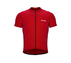 Chroma Contrast |  Short Sleeve Cycling Jersey Red - Blue zip/seam | Men and Women
