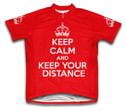 Keep Calm and Keep Your Distance Red Cycling Jersey