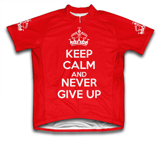 Keep Calm and Never Give Up Red Cycling Jersey