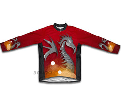 Red Fire Dragon Winter Thermal Cycling Jersey