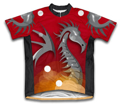 Red Fire Dragon Short Sleeve Cycling Jersey for Men and Women