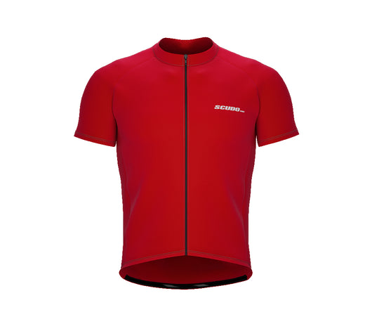 Chroma Contrast |  Short Sleeve Cycling Jersey Red - Black zip - Grey seam | Men and Women