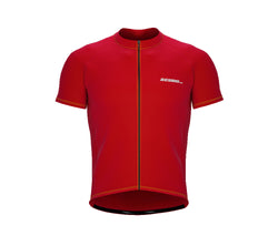 Chroma Contrast |  Short Sleeve Cycling Jersey Red - Black zip - Yellow seam | Men and Women