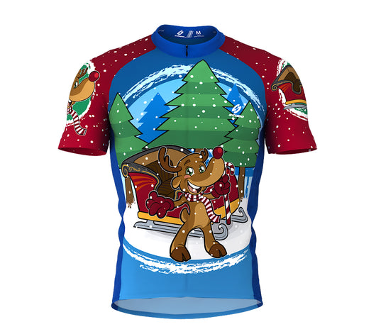 Santa Claus Rudolph Reindeer Short Sleeve Cycling Jersey for Men and Women