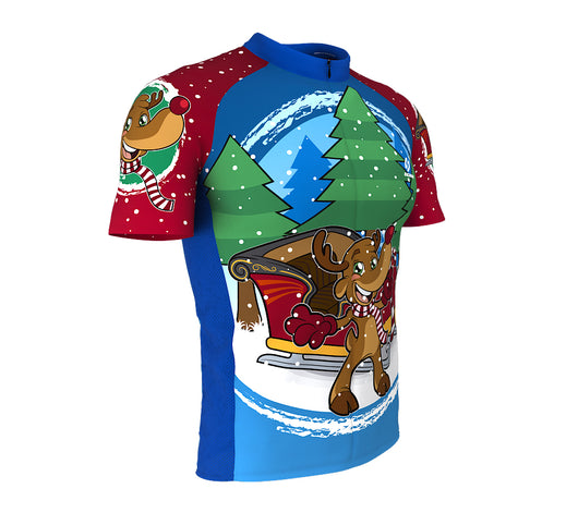 ... Santa Claus Rudolph Reindeer Short Sleeve Cycling Jersey for Men and  Women ... 6f373b738