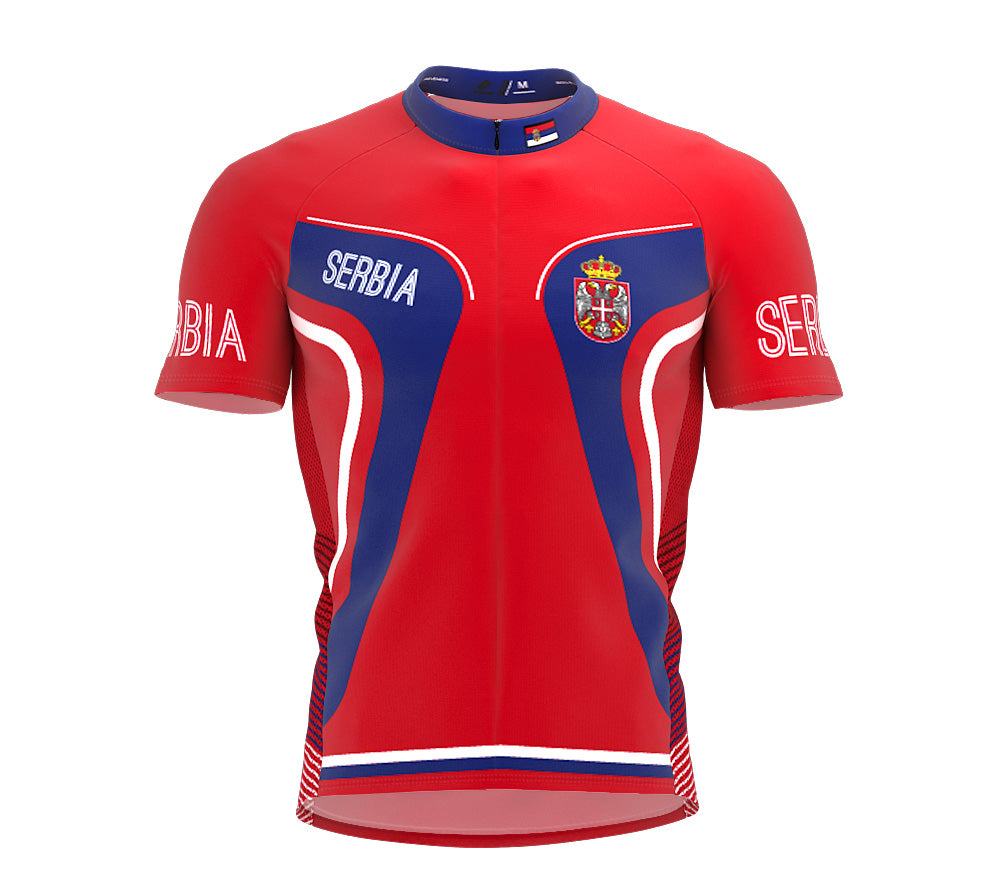 Serbia  Full Zipper Bike Short Sleeve Cycling Jersey