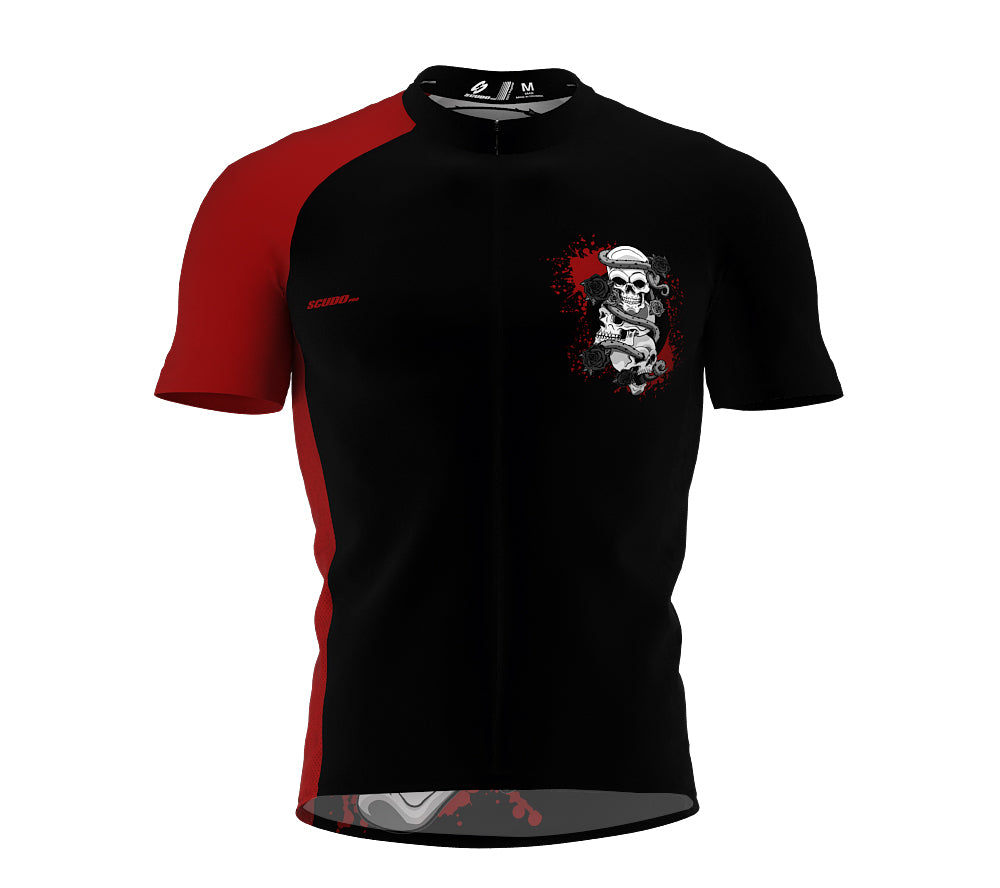 Skulls And Roses Cycling Jersey Short Sleeve for Men and Women