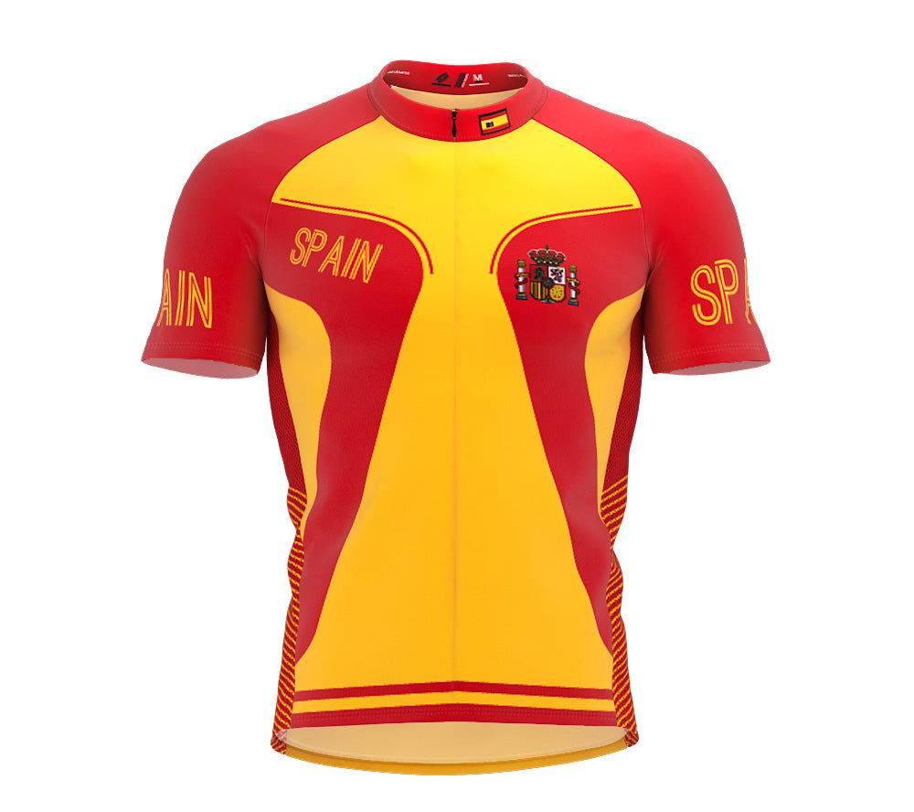 Spain  Full Zipper Bike Short Sleeve Cycling Jersey