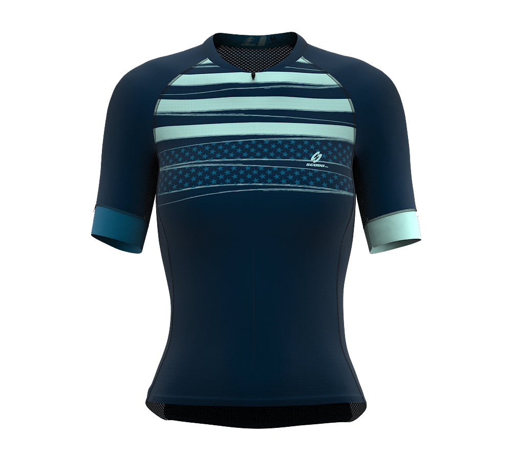 Stripeds Blue Short Sleeve Cycling PRO Jersey