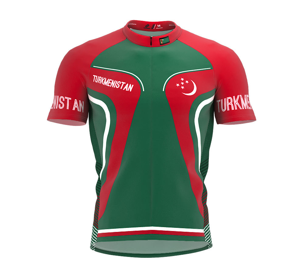 Turkmenistan  Full Zipper Bike Short Sleeve Cycling Jersey