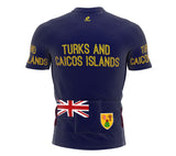 Turks And Caicos Islands  Full Zipper Bike Short Sleeve Cycling Jersey