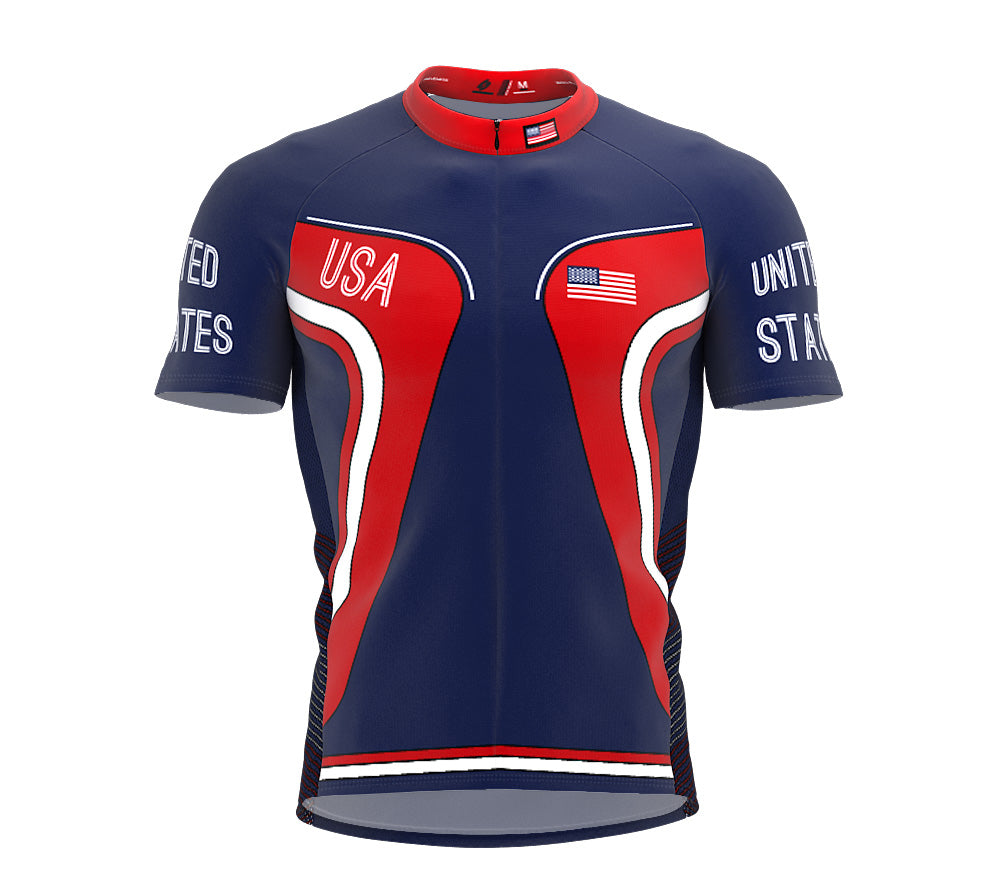 United States  Full Zipper Bike Short Sleeve Cycling Jersey