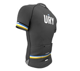 Uruguay Gray CODE Short Sleeve Cycling PRO Jersey for Men and Women