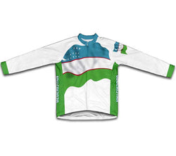 Uzbekistan Flag Winter Thermal Cycling Jersey