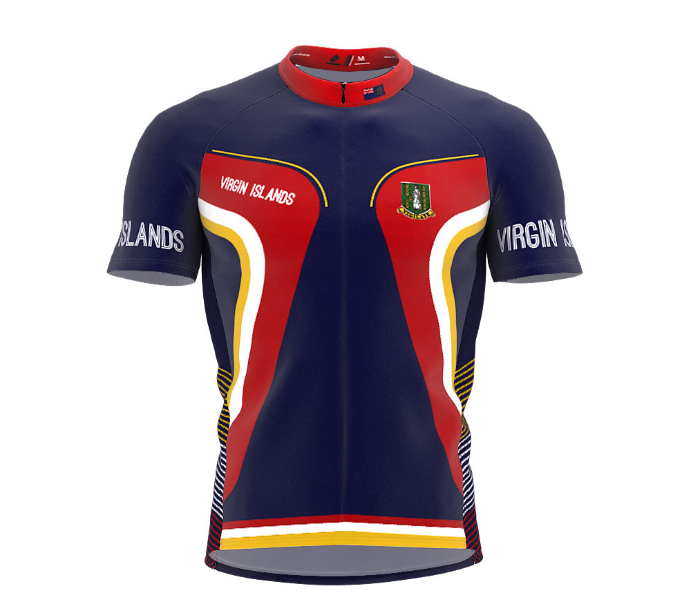 Virgin Islands - UK  Full Zipper Bike Short Sleeve Cycling Jersey