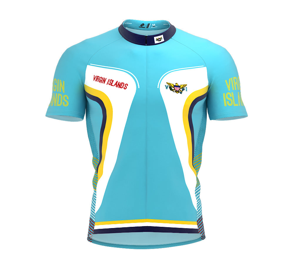 Virgin Islands - US  Full Zipper Bike Short Sleeve Cycling Jersey