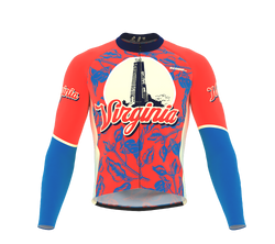 ScudoPro Pro Thermal Long Sleeve Cycling Jersey Virginia USA state Icon landmark identity  | Men and Women