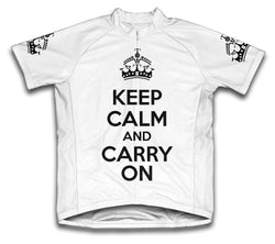 Keep Calm and Carry On White Cycling Jersey