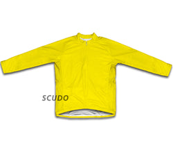 Keep Calm and Bike On Yellow Winter Thermal Cycling Jersey