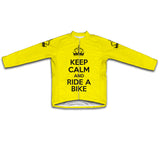 Keep Calm and Ride a Bike Yellow Cycling Jersey Long Sleeve