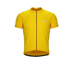Chroma Contrast |  Short Sleeve Cycling Jersey Yellow - Black zip - Orange seam | Men and Women