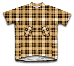 Yellow Plaid Shirt Short Sleeve Cycling Jersey for Men and Women