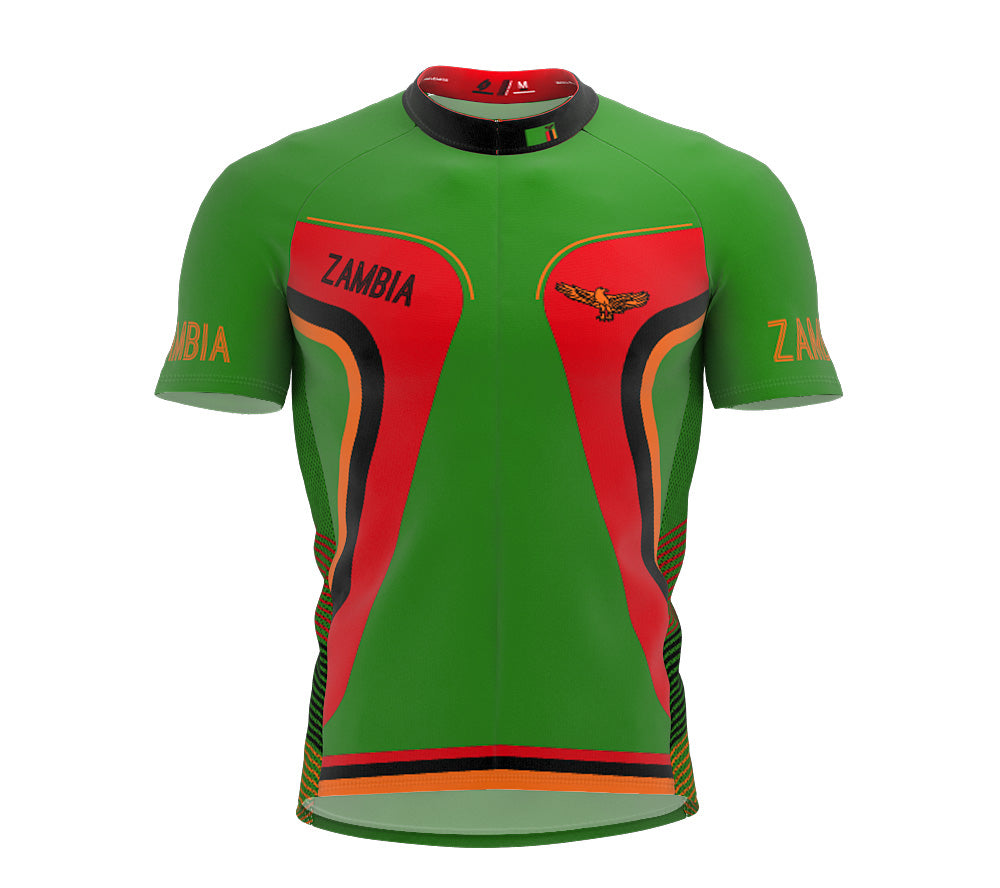 Zambia  Full Zipper Bike Short Sleeve Cycling Jersey