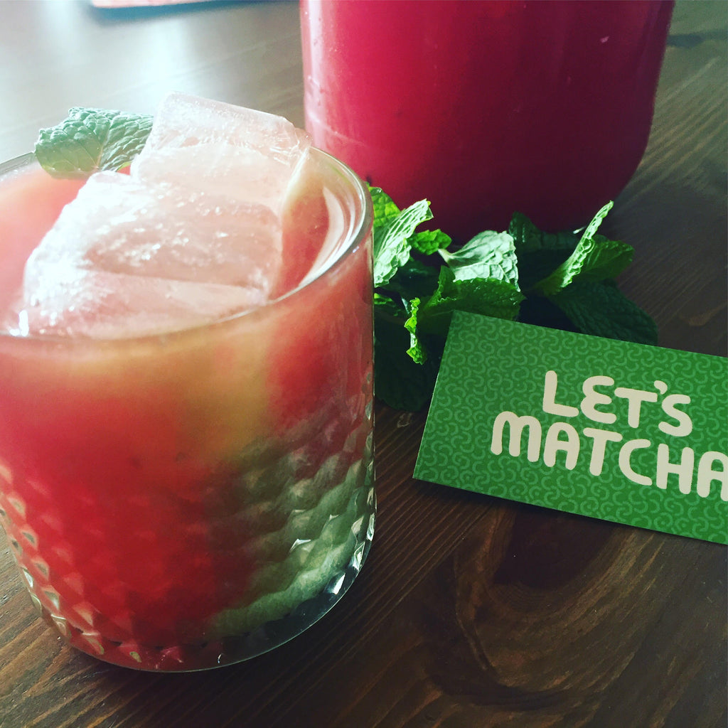 Your Favourite Summer Cocktail Awaits! Matcha, Aloe Vera Juice, and Watermelon.