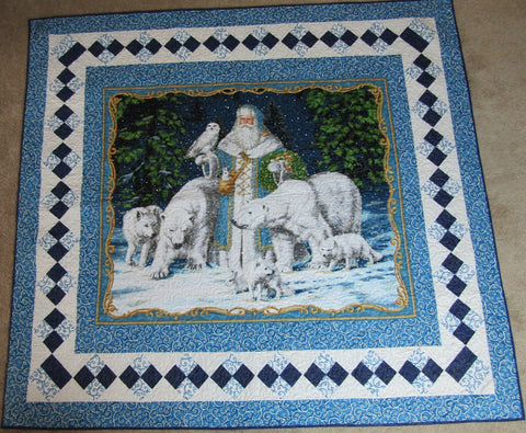 "Blue Santa with Polar Bears 57""x62"""