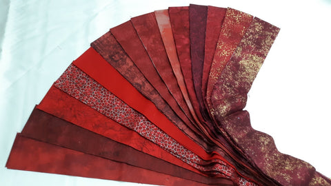 "Shades of Red - 42- 2.5"" Strips"