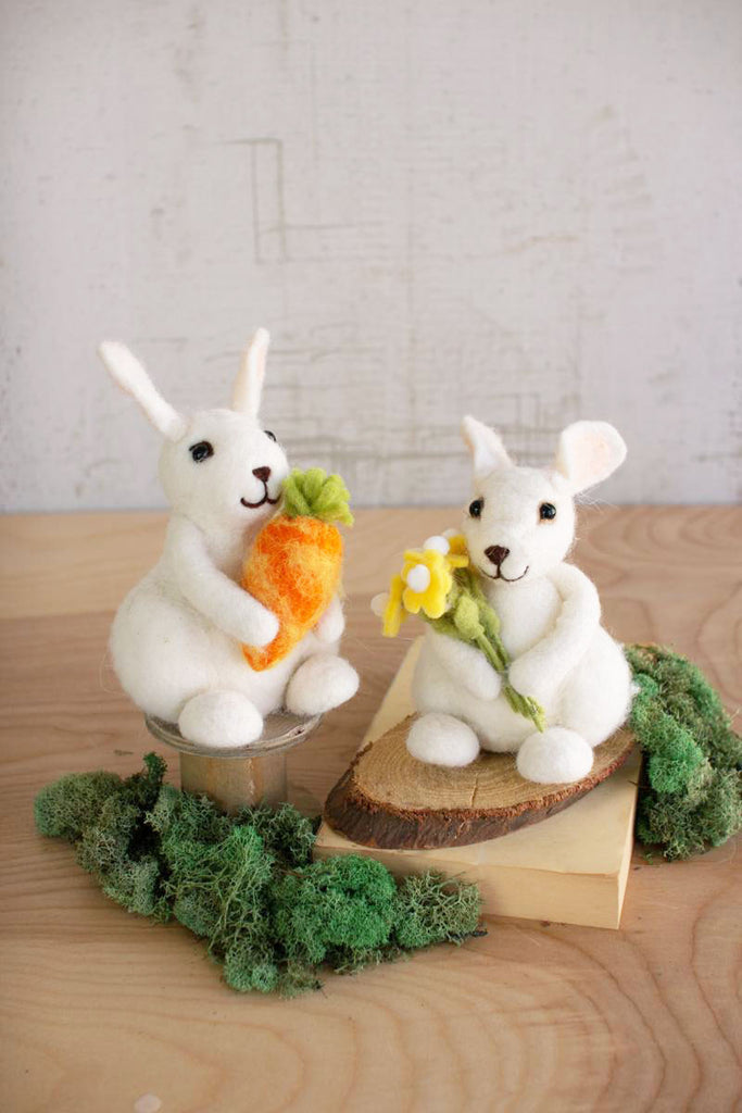 Set of Two Felt Rabbits with Carrot and Flowers