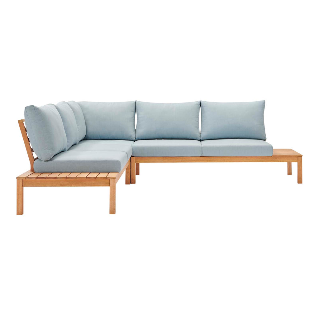 Freeport 3 Piece Outdoor Patio Karri Wood Sectional - Natural Light Blue