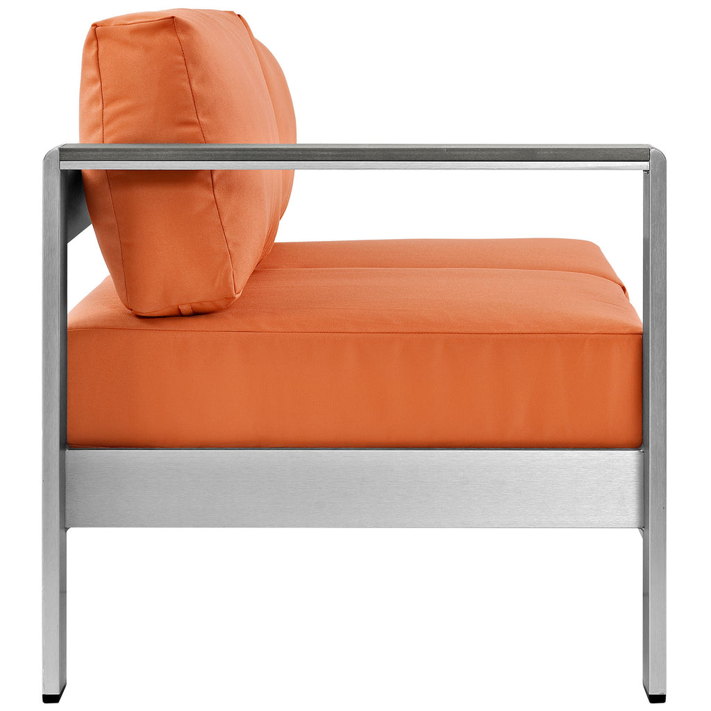 Shore Left-Arm Corner Sectional Outdoor Patio Aluminum Loveseat in Silver Orange