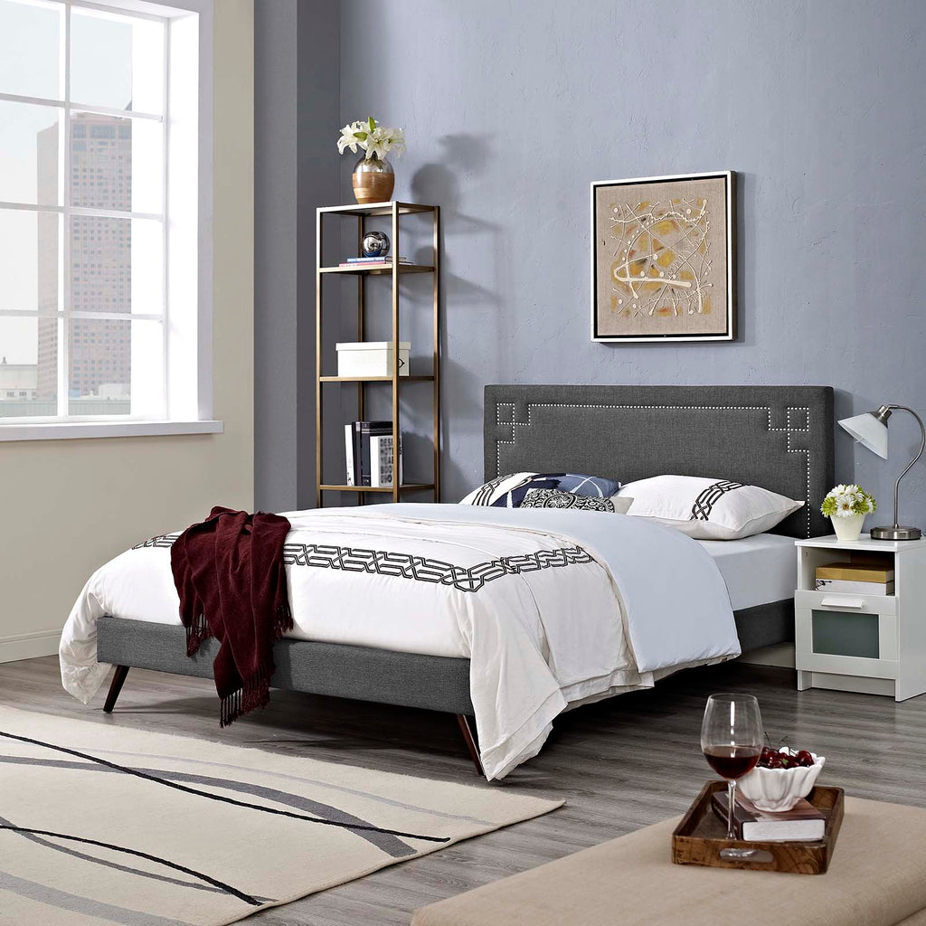 Ruthie Full Fabric Platform Bed with Round Splayed Legs - Gray