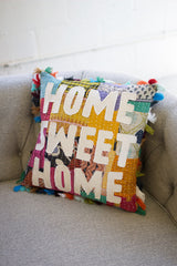Kantha Pillow with Tassels - Home Sweet Home