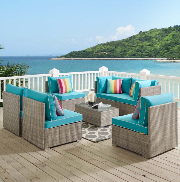 Repose 7 Piece Outdoor Patio Sectional Set - Light Gray Turquoise