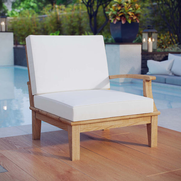 Marina Outdoor Patio Teak Right-Facing Sofa - Natural White