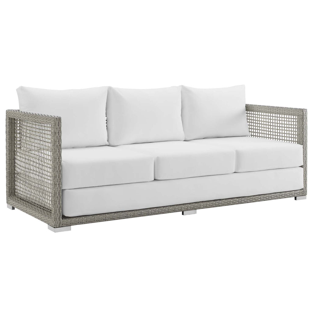 Aura 3 Piece Outdoor Patio Wicker Rattan Set - Gray White