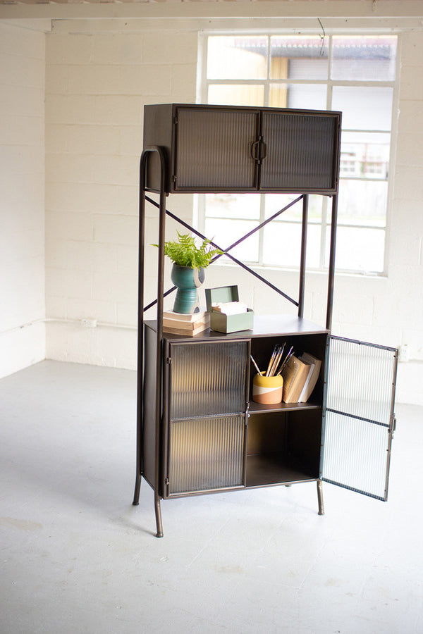 Metal Shelving Unit with Corrugated Glass Doors