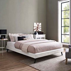 Loryn King Vinyl Bed Frame with Round Splayed Legs - White