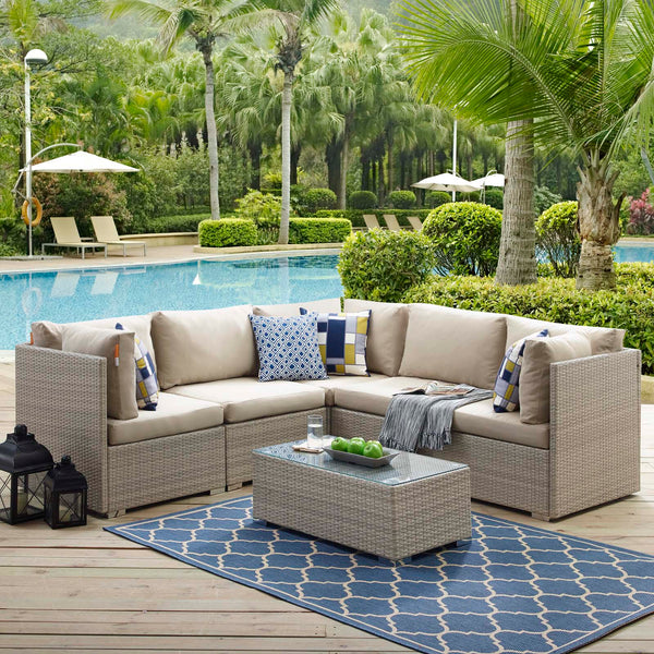 Repose 6 Piece Outdoor Patio Sunbrella Sectional Set - Light Gray Beige