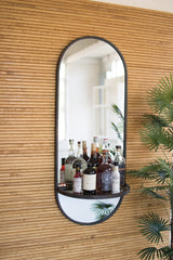 Tall Oval Wall Mirror with Folding Metal Shelf