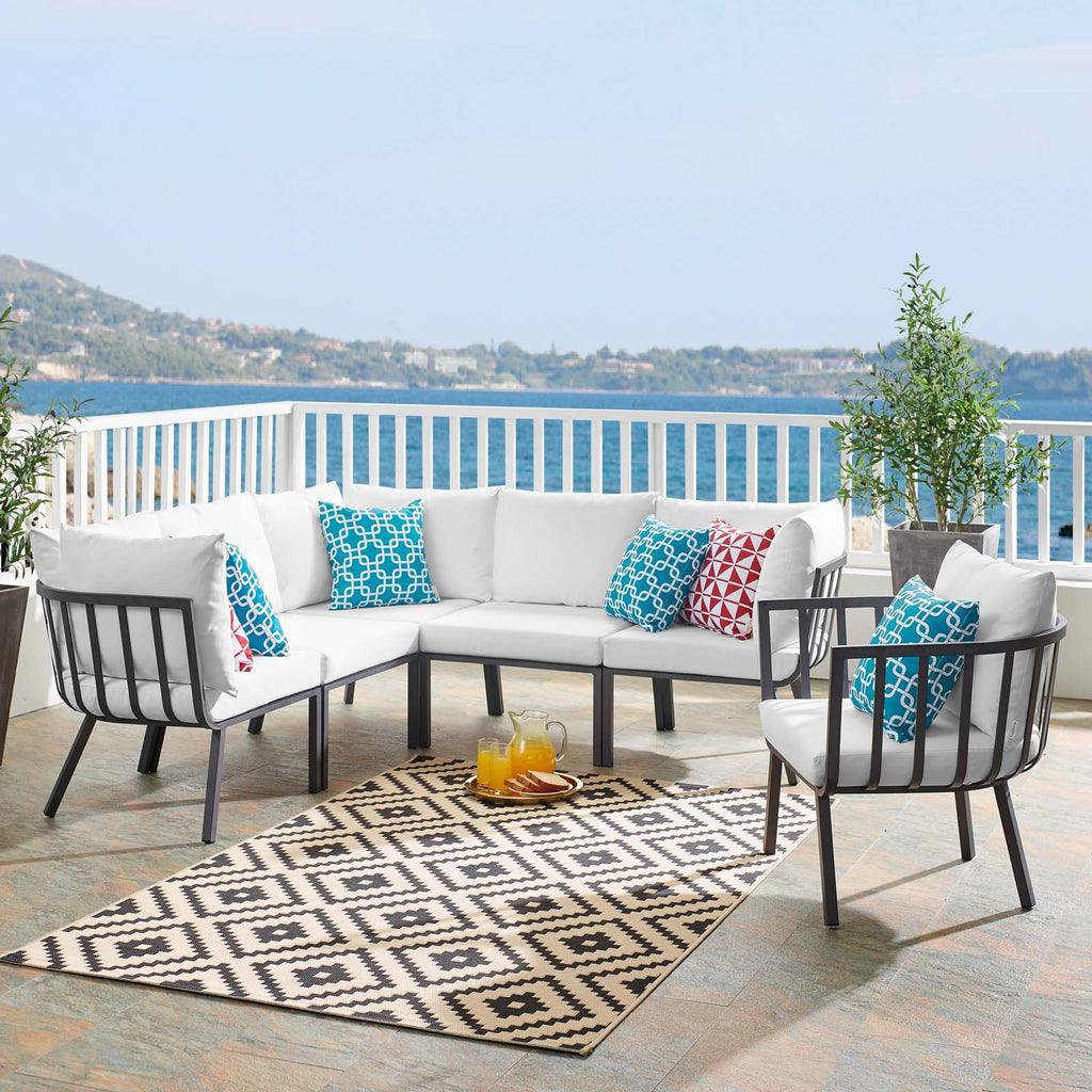 Riverside 6 Piece Outdoor Patio Aluminum Set - Gray White