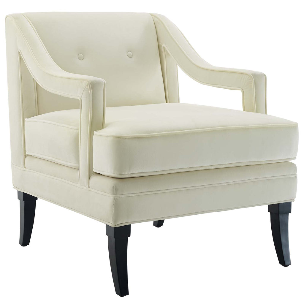 Concur Button Tufted Performance Velvet Armchair - Ivory